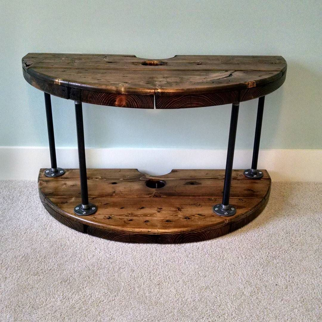 How to make a sofa table from cable wood reel - First Attempt At Making Furniture Wire Spool Tv Xbox Stand Diy Wire Spool Tableswooden