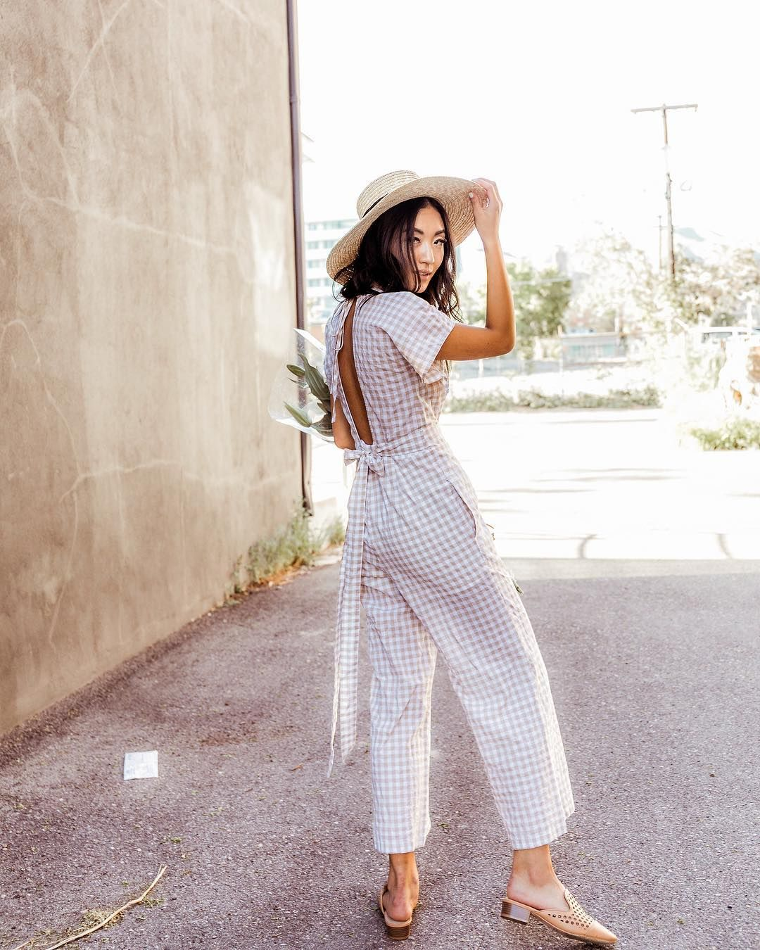 f5f695ac7668 pretty jumpsuit and straw hat outfit