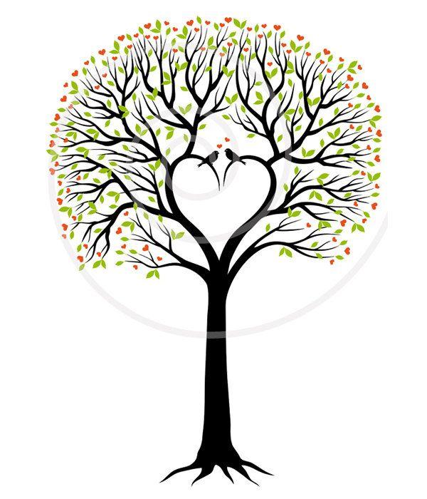Heart wedding tree, wedding invitation, guest book ...