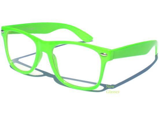 neon green frame clear lens wayfarer glasses hipster cool nerd geek retro specs