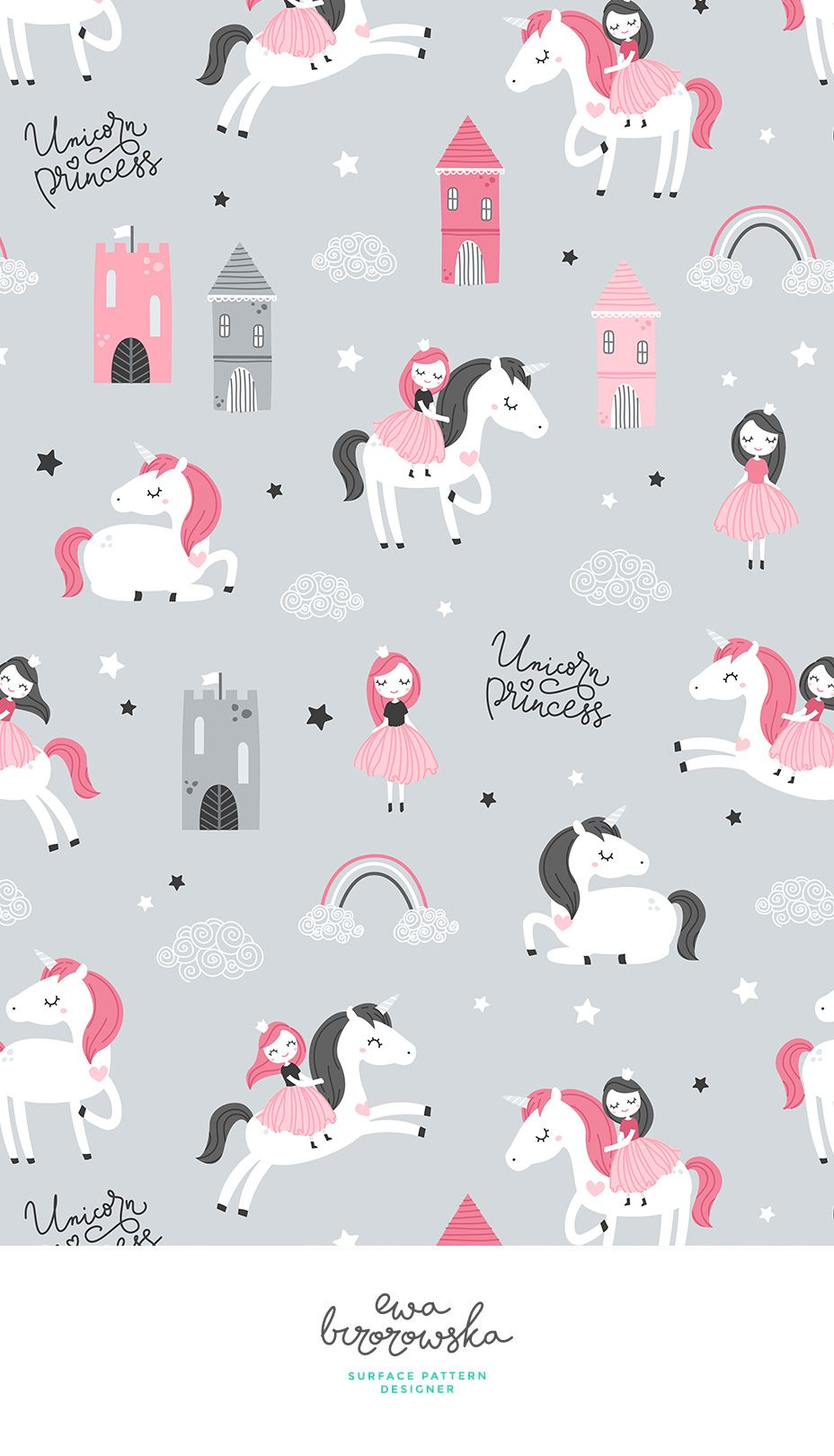 Colorful Fabrics Digitally Printed By Spoonflower Unicorn Princess Grey Unicorn Wallpaper Cute Wallpaper Design Pattern Unicorn Wallpaper