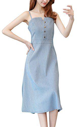 Smalltile Été Femme Sexy Bretelle Dos Nu Robes de Cocktail Fête Soirée  Fashion Élégante Denim Midi e65c761b635