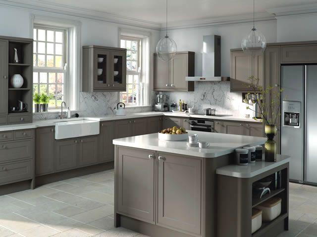 Best Tullymore Matt Stone Grey Kitchen Grey Kitchen Designs 640 x 480
