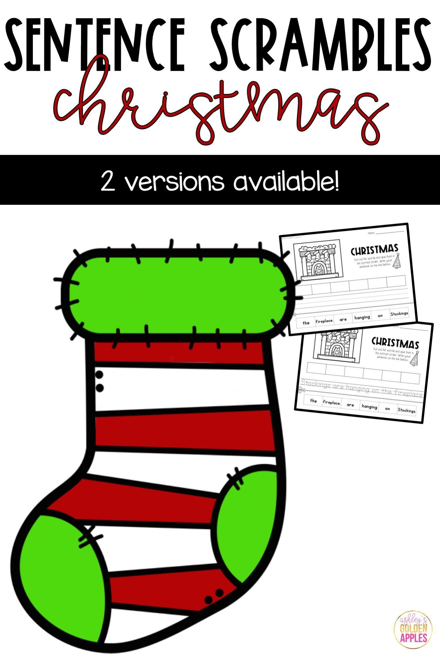 Sentence Scrambles Worksheets Christmas