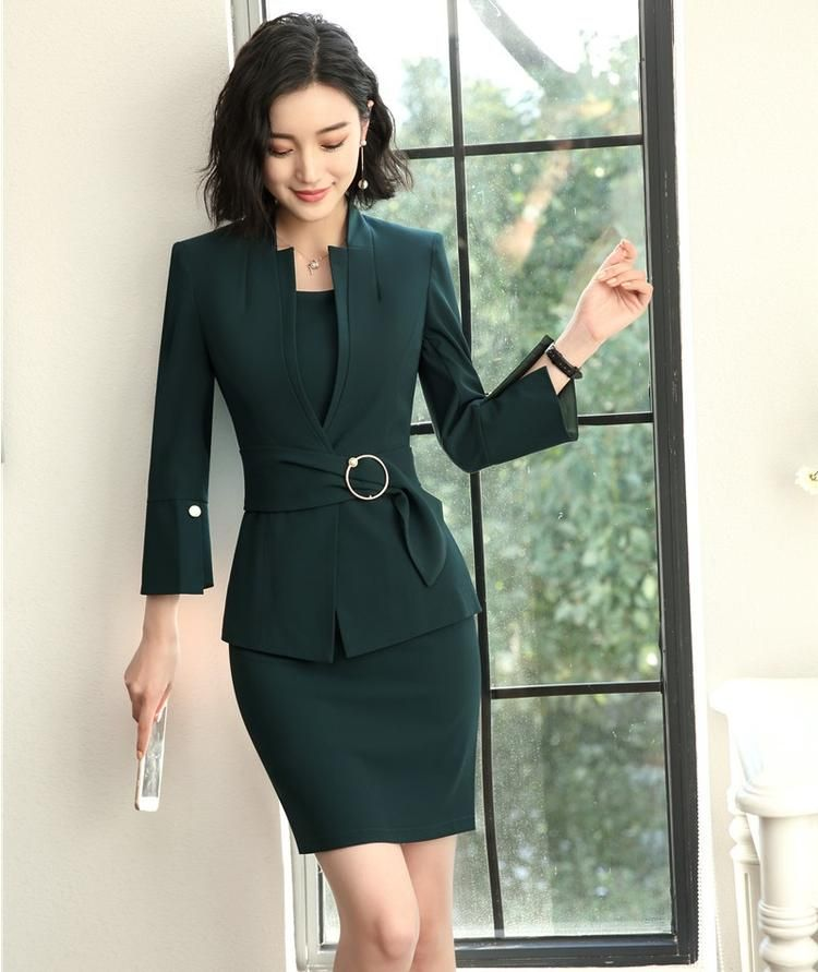 New Style 2018 Fashion Grey Blazer Women Business suits Dress and and  Jacket Sets Ladies Office Uniform Designs 29426405e6e0