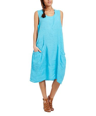This Turquoise Linen Sleeveless Dress by Couleur Lin is perfect ...