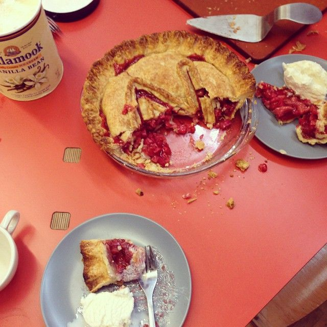 Strawberry rhubarb birthday pie. We are spoiled by the expert bakers who work at Kerf Design. They design beautiful furniture and beautiful desserts! kerfdesign.com