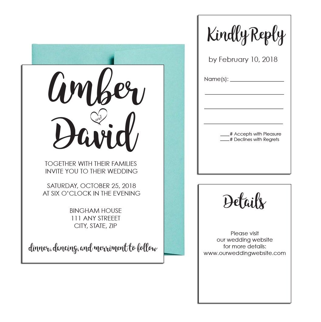 Wedding decorations names october 2018 Simple Classic Wedding Invite Click through to find matching games