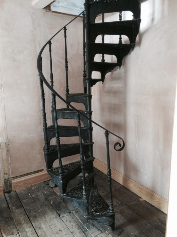 Cast Iron Spiral Staircase For Sale On Salvoweb Don T Miss Out | Iron Spiral Staircase For Sale | Grey Exterior | Wrought Iron | Ornate | Helical Staircase | Architectural Salvage