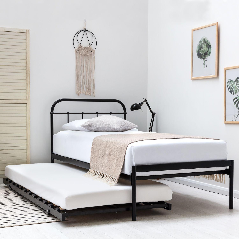 Bourton Black Single Metal Bed Frame With Guest Bed Trundle Single Metal Bed Frame Metal Bed Frame Single Bed Frame
