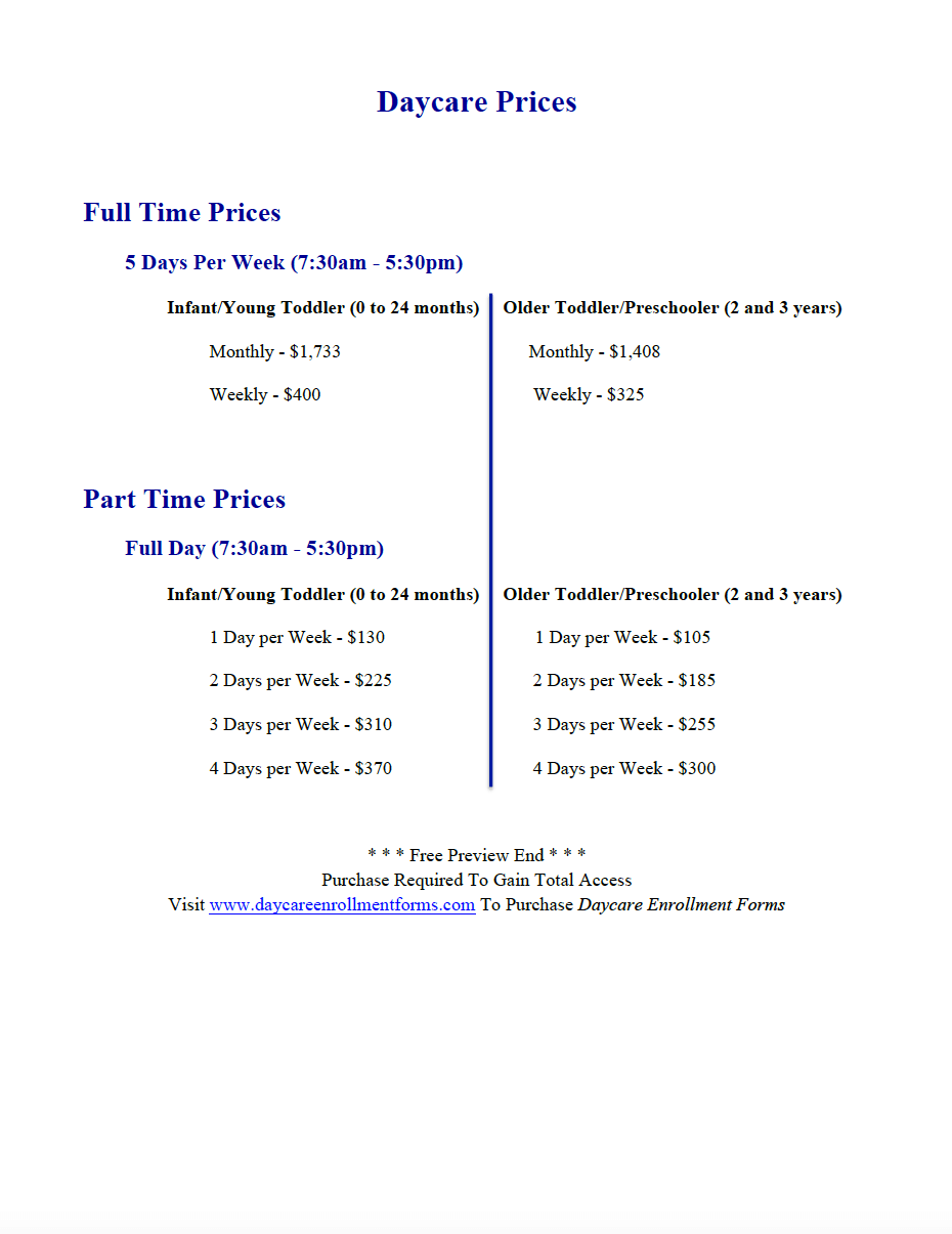 Pin by Daycare Enrollment Forms on Daycare Enrollment Packet