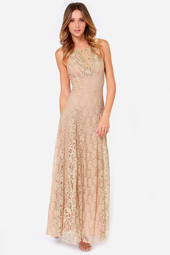 Tea Rose Beige Lace Maxi Dress at Lulus.com!   My style - haves ...