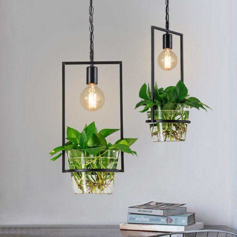 Hanging Plant Box Frame Pendant Light 60w Cage Ceiling Light