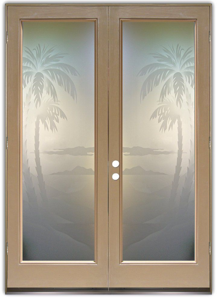 Palms 2d Private Pair Etched Glass Doors Beach Decor Etched Glass Door Exterior Doors With Glass Door Glass Design