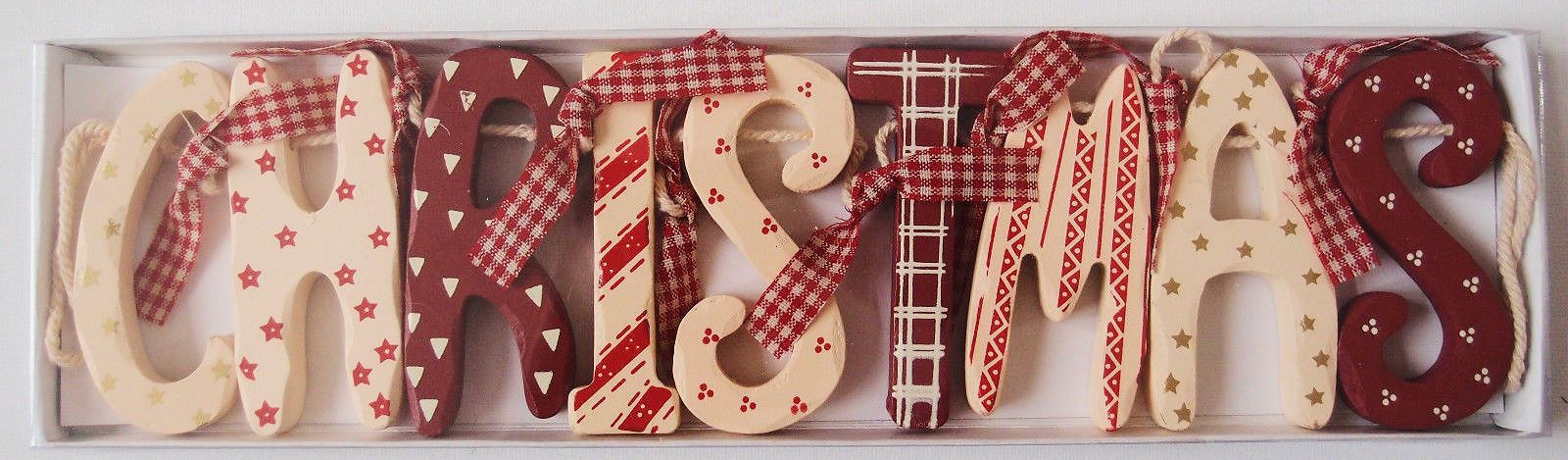 Astonishing 9 46 Chic Shabby Christmas Wooden Garland Red Cream Download Free Architecture Designs Rallybritishbridgeorg