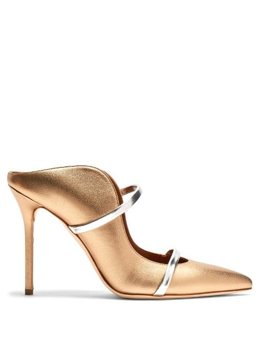Maureen Gold Leather MulesMalone Souliers X0OZwkr3w