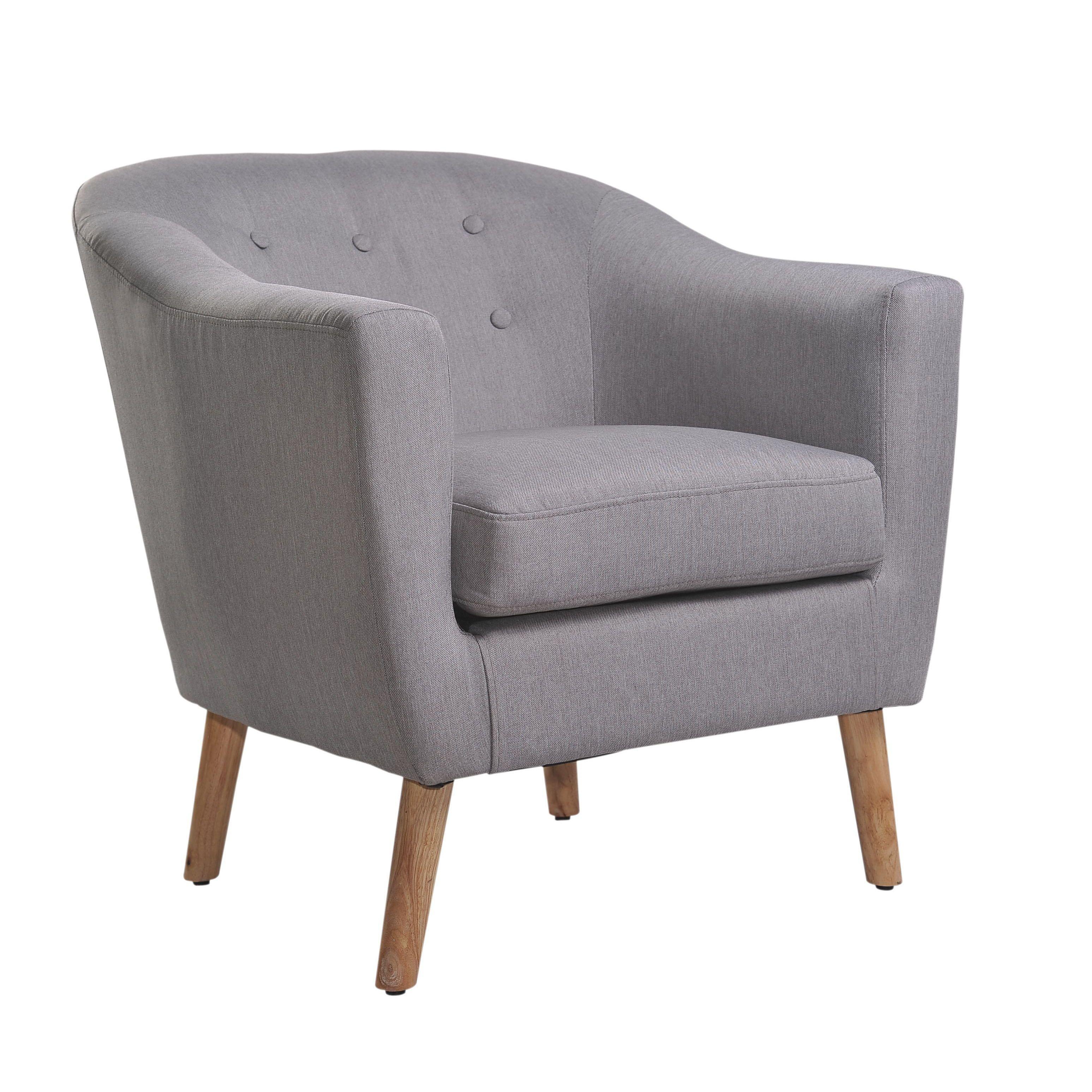 Overstuffed Living Room Chairs Nathaniel Home Jason Mid Century Light Grey Club Chair Hem