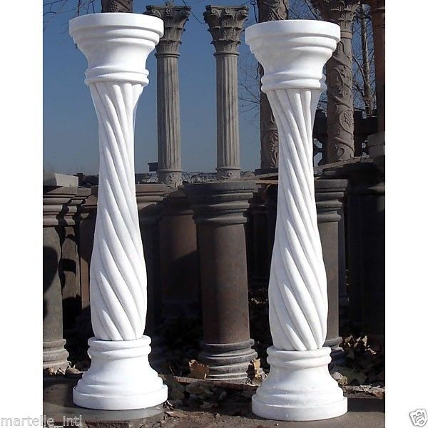 """Marble Pedestal Tables White Twisted 39.5"""" Tall Includes  Pair New Free shipping"""