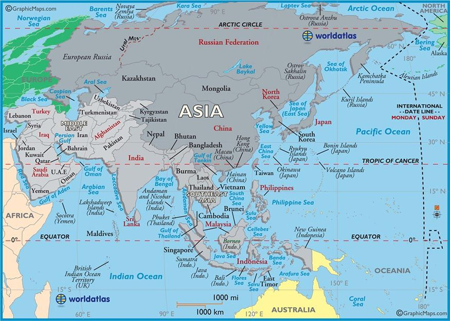 large map of asia easy to read and printable