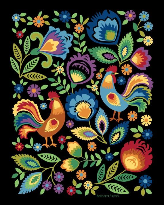 Photo of Roosters Art Print, Colorful Roosters, Folk Art, Roosters and Flowers, Polish Folk Design