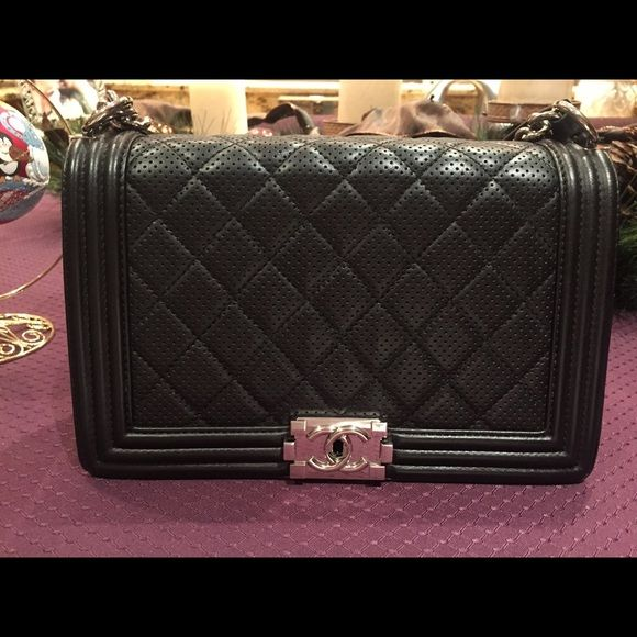 fca260c1e3e3 Chanel Le Boy Medium perforated black lamb skin Good condition, less on / tradesy  CHANEL Bags Shoulder Bags