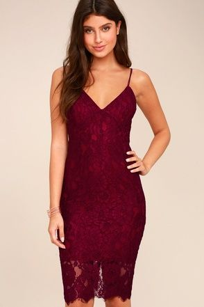 3fd1a285ead7 Extraordinary Love Burgundy Lace Midi Dress 1