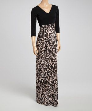 Another great find on #zulily! Black & Beige Rose Side-Tie V-Neck Maxi Dress - Women by GLAM #zulilyfinds