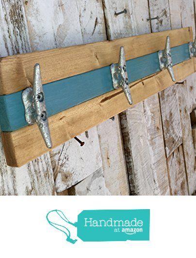 Nautical Boat Cleat Coat Rack, Towel Rack, or Hat Rack, Teal and Natural Pine from Willis Wood Designs https://www.amazon.com/dp/B01M3VW8XH/ref=hnd_sw_r_pi_dp_zAhozbHFH46PM #handmadeatamazon