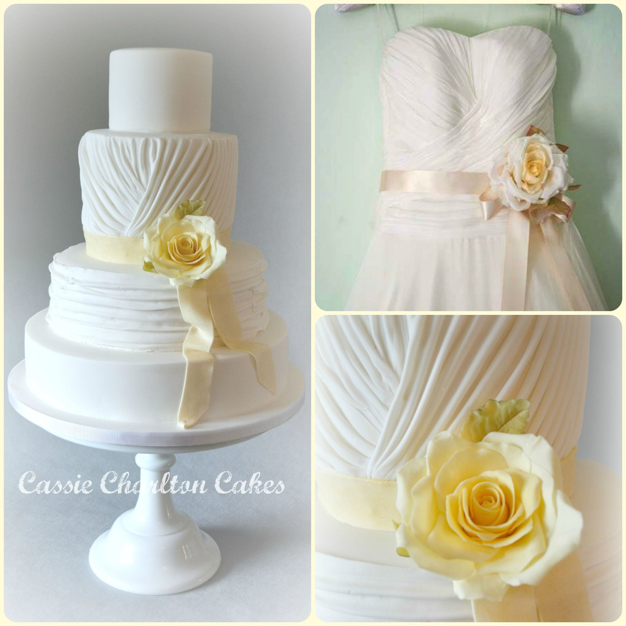 white ruched pleated wedding cake yellow rose naomi neoh marie ...