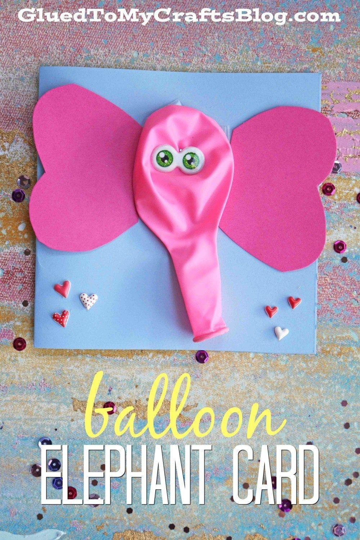 Balloon elephant card kid craft craft ideas pinterest craft