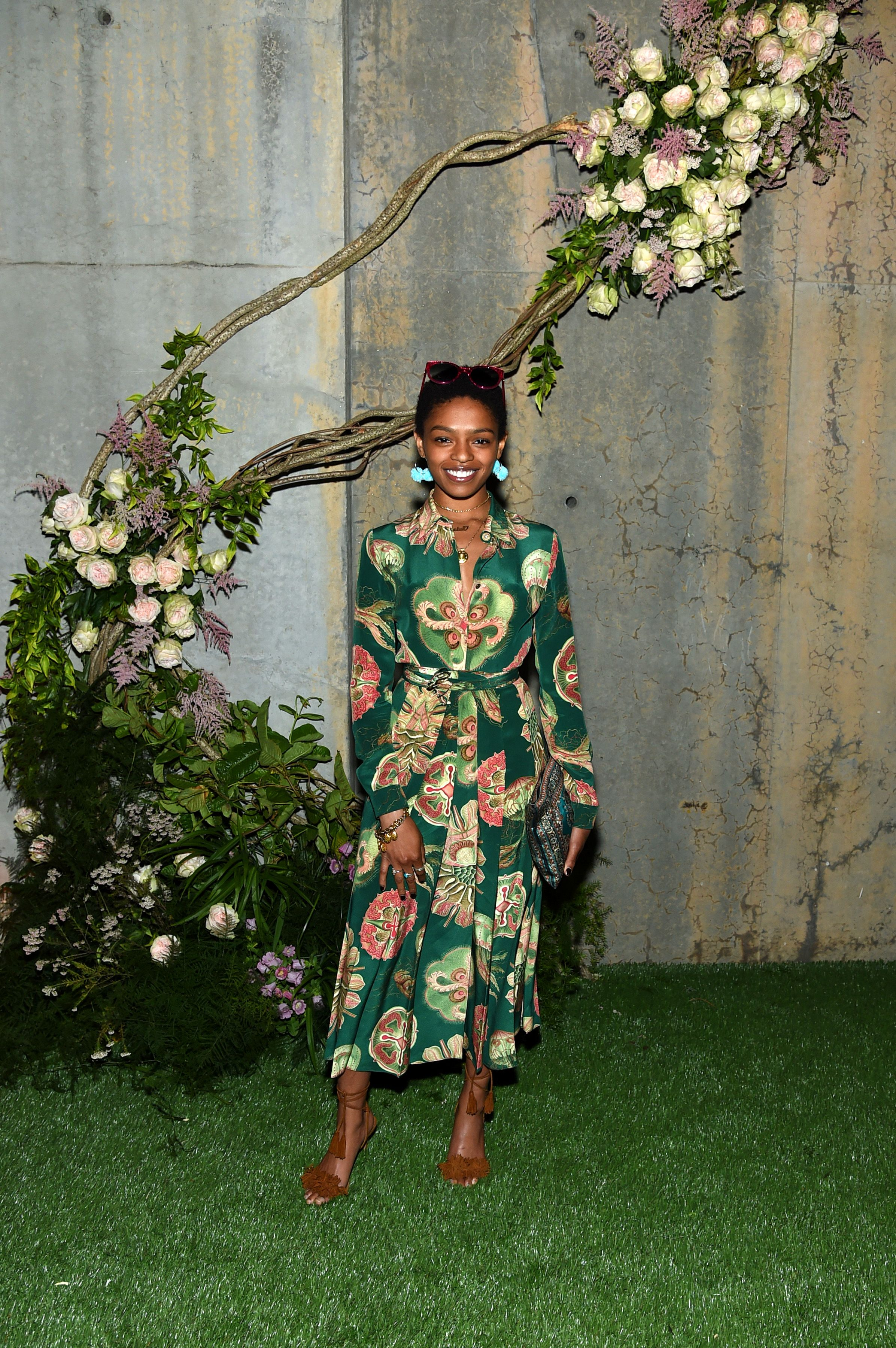 44107af86 Selah Marley attended the debut for new scent Gucci Bloom at in a Gucci  Spring Summer 2017 printed dress.