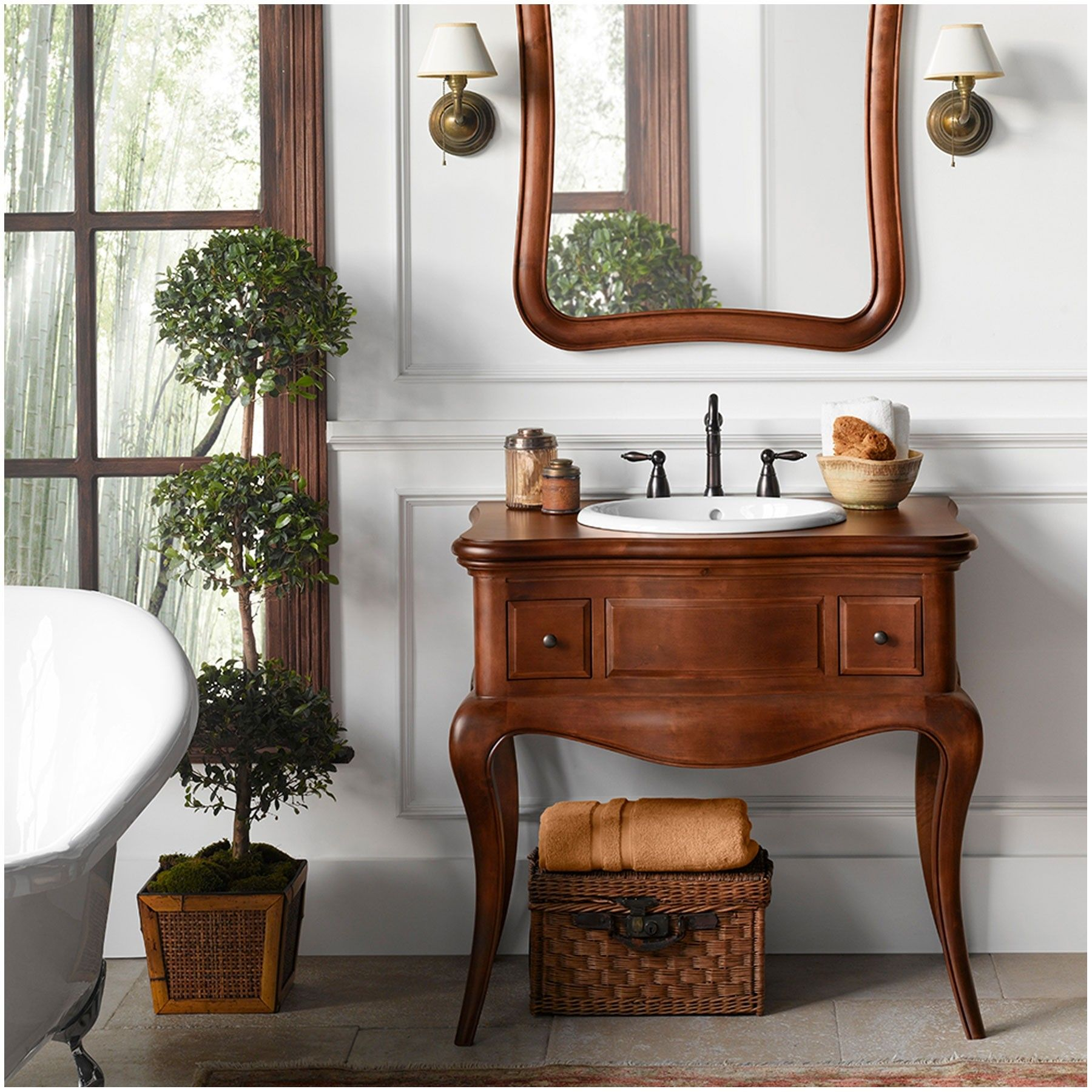 "36"" Read Single Bathroom Vanity Base Cabinet Only, Cherry ..."