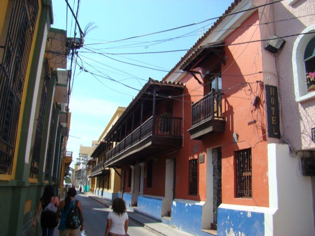 Colonial street in Santa Marta, Colombia Martes santo