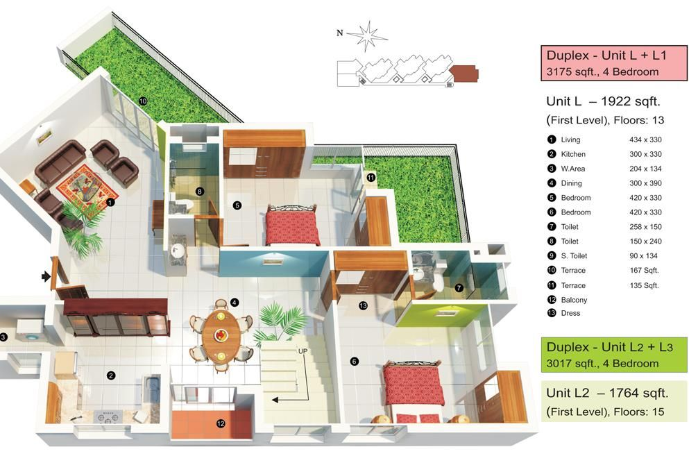 Interior Plan Houses Design Floor 2d Landscape