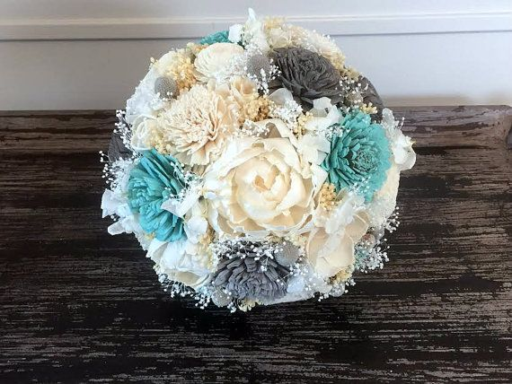 Teal Gray And Ivory Wedding Bouquet Sola Flowers By