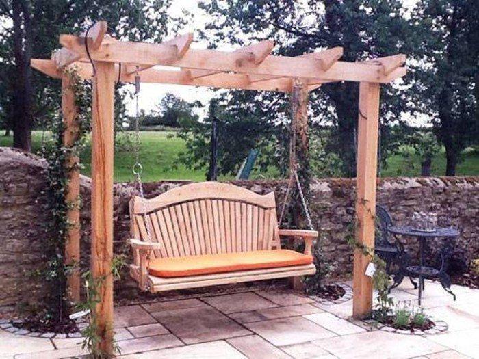 Oak Garden Arbor Swing In And Lawn Category