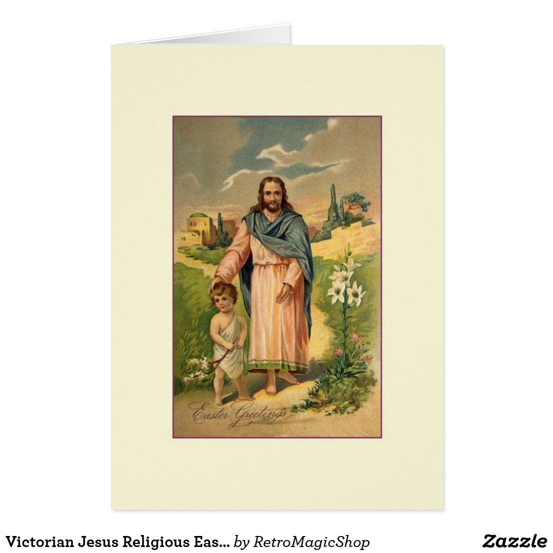 Victorian Jesus Religious Easter Greeting Card Easter Greeting