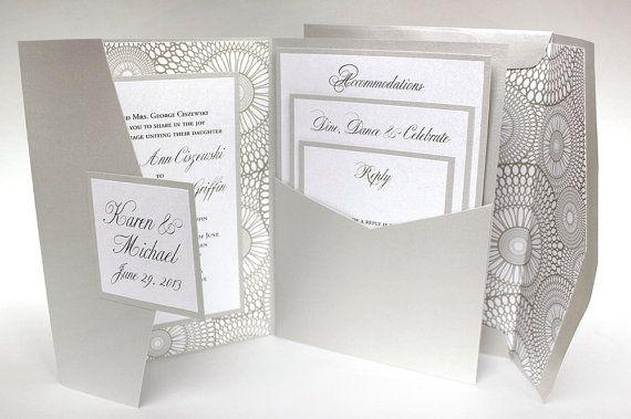 Beautiful silver pocket fold wedding invitation