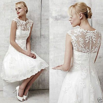 NEU kurz Spitze Brautkleid Hochzeitskleid Brautkleider Größe 34 34 ...