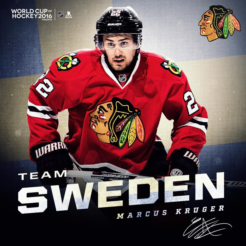 Marcus Kruger Will Represent Team Sweden In The 2016 World Cup Of Hockey Blackhawks Chicago Blackhawks Chicago Sports Teams Hockey World Cup