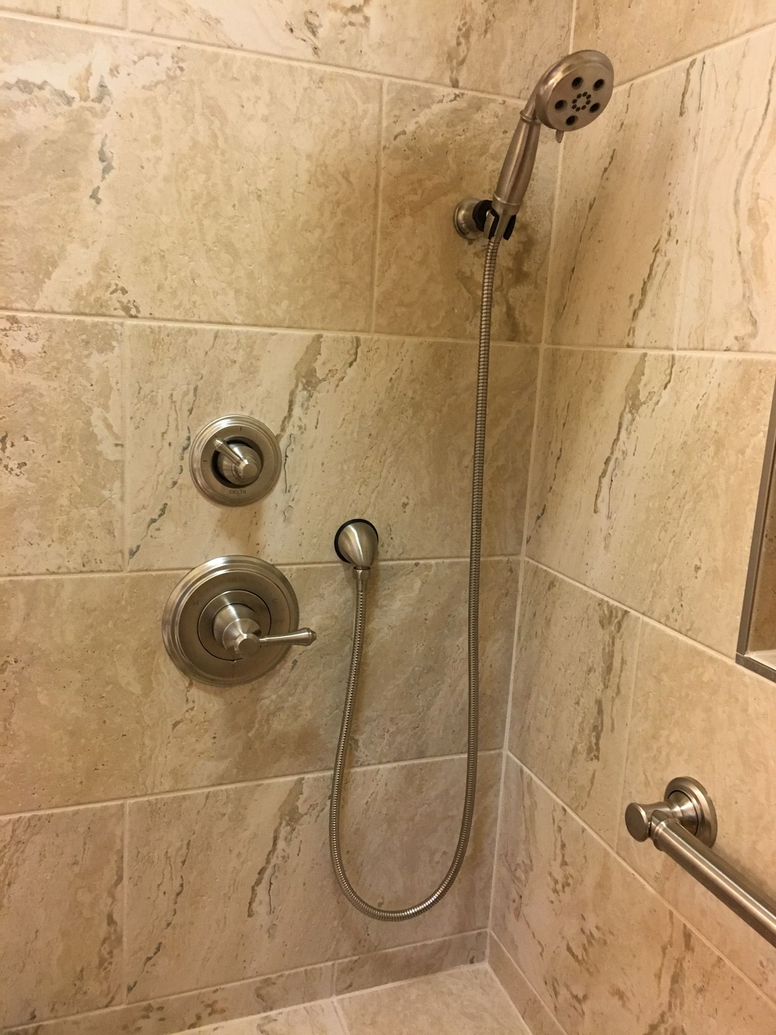 Delta Cassidy shower kit and Delta Traditional grab bars. | Curbless ...