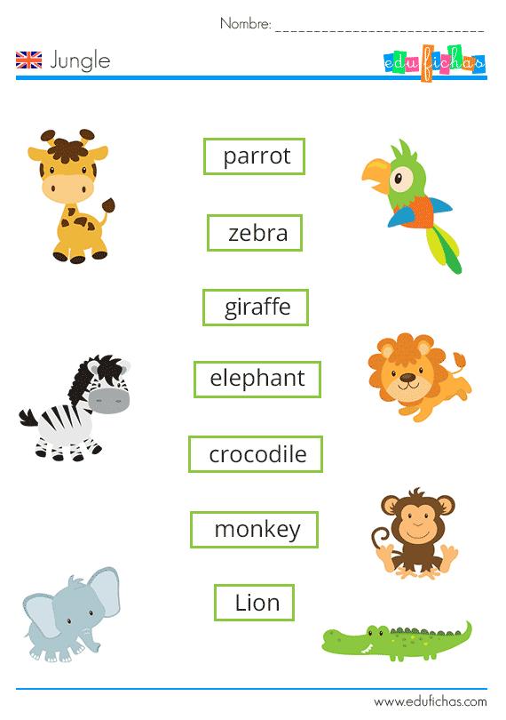 Fichas Para Aprender Vocabulario En Inglés Hoy Aprendemos Nombres De Animales De La Jungla Ingles Para Preescolar Ingles Basico Para Niños Animales En Ingles