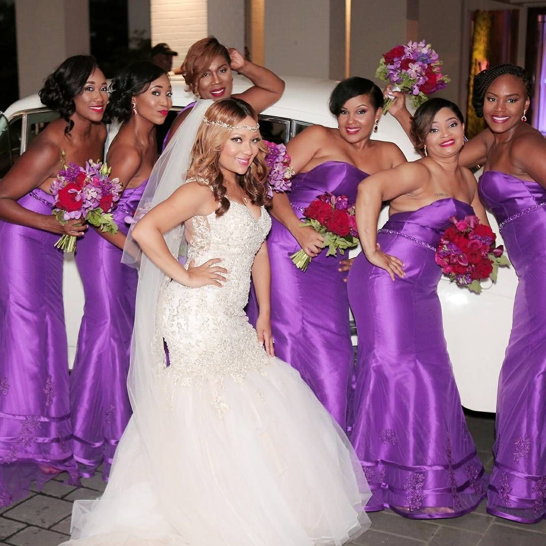 The Beautiful Bride and her maids... Loving the color Bridesmaids ...
