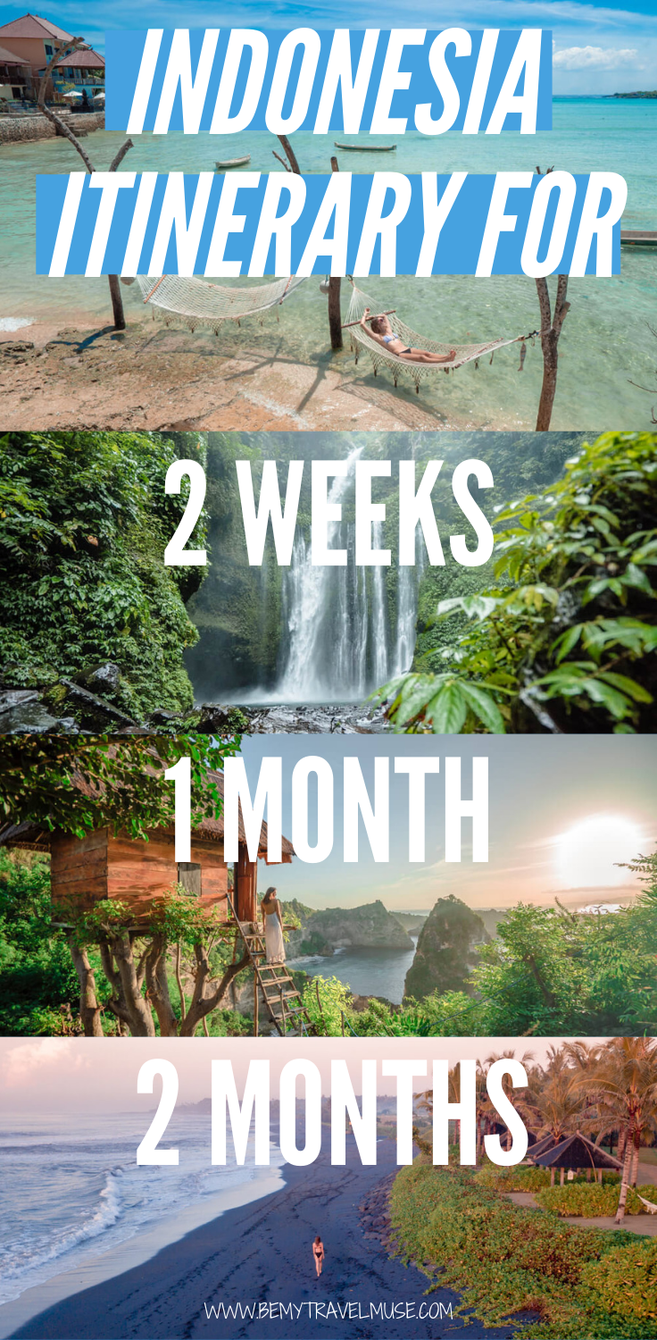 Indonesia is one of the best countries to backpack in. Whether you have 2 weeks, 1 month or 2 months in Indonesia, I got you covered. Here are 3 sets of itineraries that will help you make the most out of your trip to Indonesia, with lots of outdoor adventures, off the beaten path spots, and iconic views you cannot miss. FREE Southeast Asia checklist included! #Indonesia #IndonesiaTravelTips