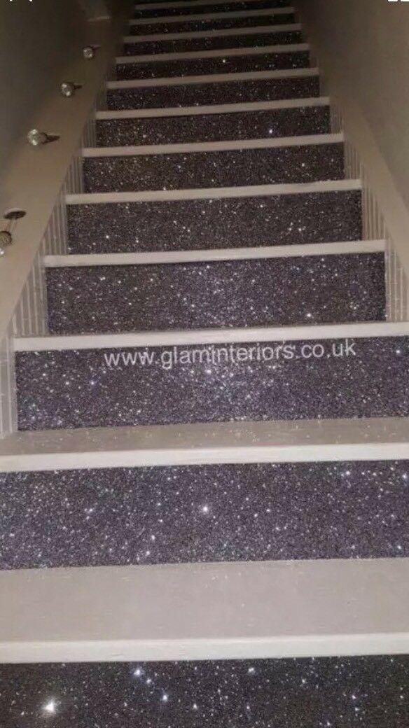 Best Details About Gunmetal Glitter Stair Fabric Sparkly 400 x 300