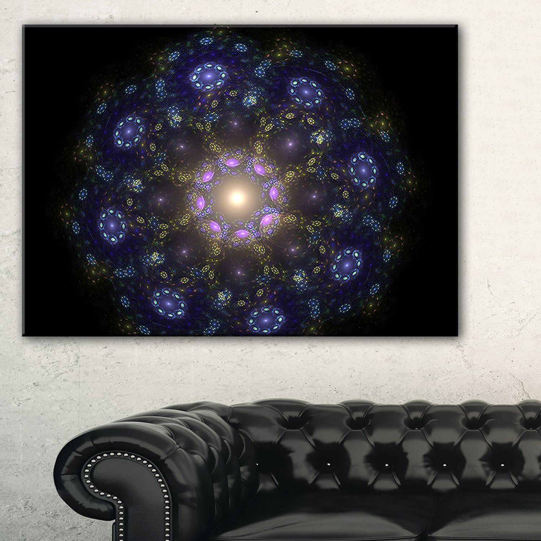 Blue abstract fractal mandala flower floral wall art canvas