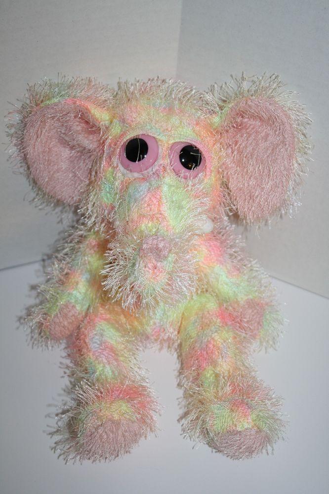 Big Pink Eyes Neon Plush Elephant Stringy Stuffed Animal