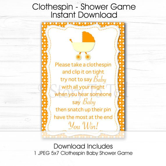 Baby Shower Clothespin Game Sign 5x7 Instant By StoryToTellShop