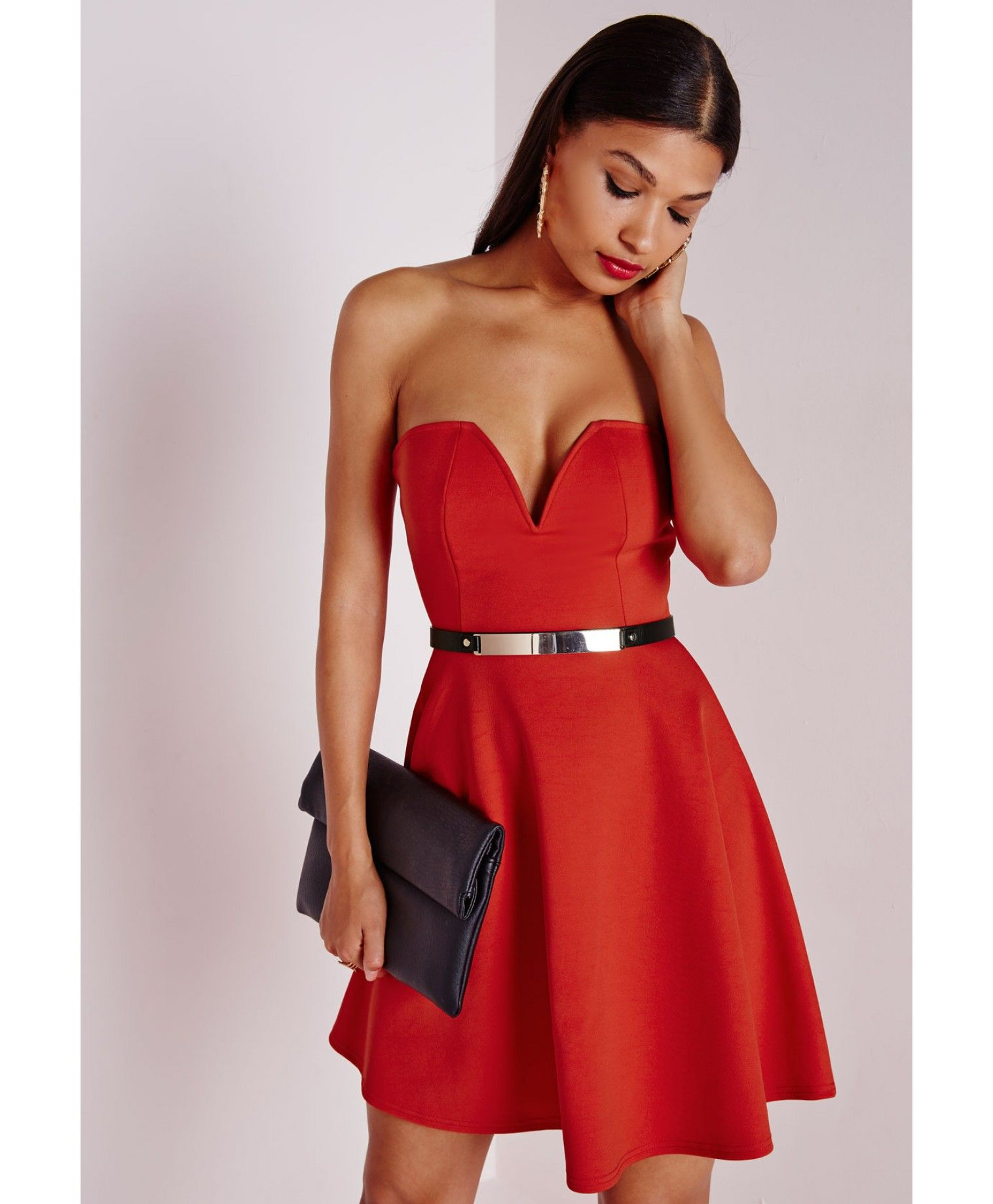 Missguided Scuba Plunge Skater Dress Red Plunge Skater Dress Dresses Red Dress [ 1839 x 1516 Pixel ]