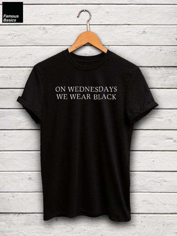 5d21902c1 On Wednesdays We Wear Black T-Shirt - Instagram Tee, Graphic Tees, Unisex  Shirts, Statement Tee, Bla